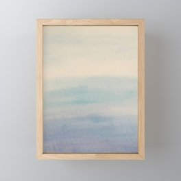 Ombre Sky Blue Watercolor Hand-Painted Effect Framed Mini Art Print