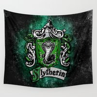 slytherin Wall Tapestries featuring Slytherin team flag iPhone 4 4s 5 5c, ipod, ipad, pillow case, tshirt and mugs by Three Second
