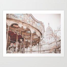 Montmartre Paris Carousel with Sacre Coeur Art Print