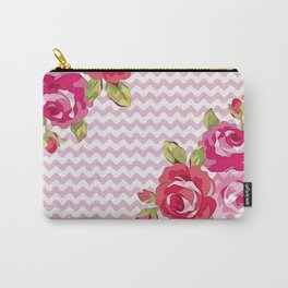 Roses on geometric pattern Carry-All Pouch