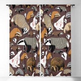 Eurasian badgers pattern Maroon Blackout Curtain