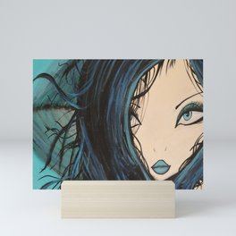 Blue and Black Hair Girl Mermaid Painting by Jodi Tomer. Figurative Abstract Pop Art. Mini Art Print