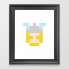 hero pixel flesh yellow grey Framed Art Print