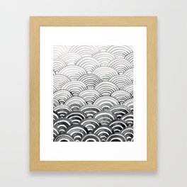 Gray Scallop Pattern Framed Art Print