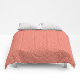 Pantone Living Coral Scallop Wave Pattern and Polka Dots Comforters