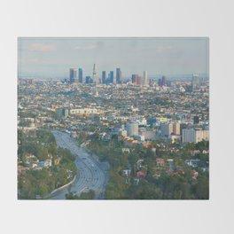 Los Angeles Skyline and Los Angeles Basin Panorama Throw Blanket