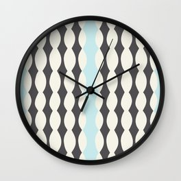 Nostalgic Brighton Stripes in Charcoal/Sky Wall Clock