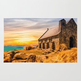 Old Stone Church on Colorful Landscape Rug