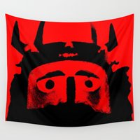 viking Wall Tapestries featuring VIKING (RED) by Silvio Ledbetter