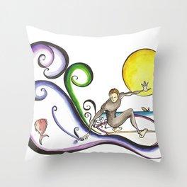 Fish Surfer  Throw Pillow