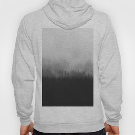 Minimalist Modern Black And white photography Landscape Misty Black Pine Forest Watercolor Effect Sp Hoody