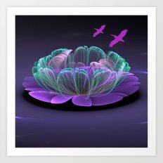 Water lily in a purple pond Art Print
