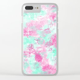 Modern Girly Bright Pink Teal Paint Splotches Clear iPhone Case