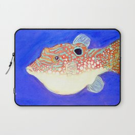 Blue Spotted Orange Toby Puffer Laptop Sleeve