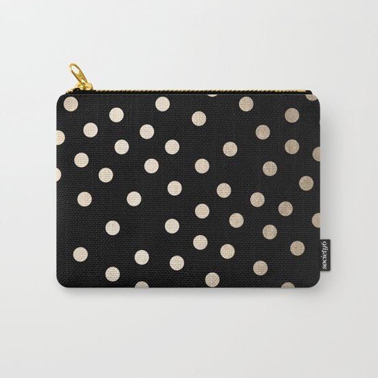 Simply Dots White Gold Sands on Midnight Black Carry-All Pouch