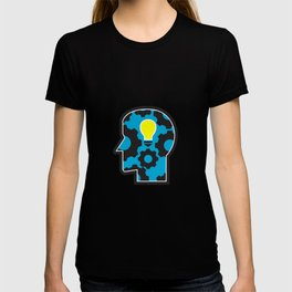 Head with Light Bulb and Cog Retro T-shirt