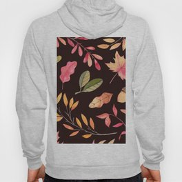 Pink orange yellow brown watercolor fall acorn leaves Hoody