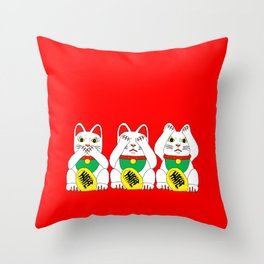 Three Wise Lucky Cats on Red Throw Pillow