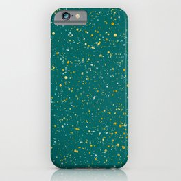 Elegant Confetti Space - Teal Green & Gold,Silver iPhone Case