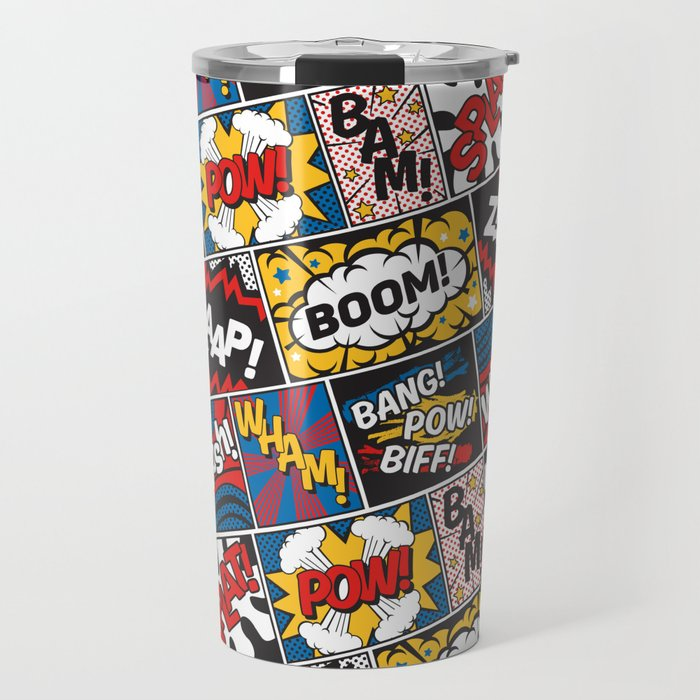 Modern Comic Book Superhero Pattern Color Colour Cartoon Lichtenstein Pop Art Travel Mug