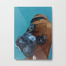 Leo the Boxer Dog Portrait Metal Print