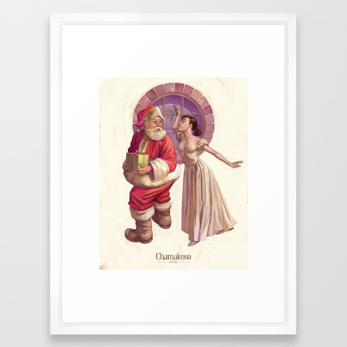 Kissing Santa Claus Framed Art Print by chamakoso | Society6