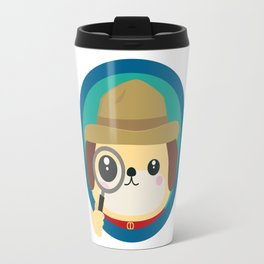 Dog detective with magnifying glass Travel Mug