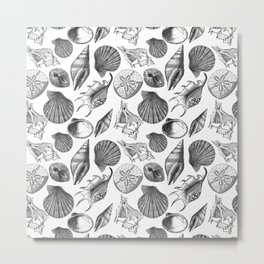 Sea and Ocean Life-Shell Pattern-Mix & Match with Simplicity of life Metal Print