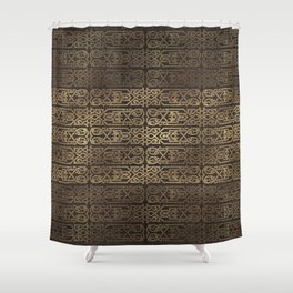 Golden Celtic Pattern on wooden texture Shower Curtain
