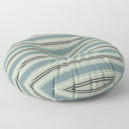 Blue-Green Beige Purple Horizontal Stripe Pattern 2021 Color of the Year Aegean Teal & Accent Shades Floor Pillow