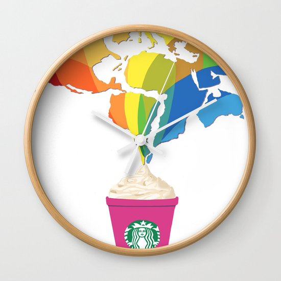 Wall Clock Art starbucks pop art wall clocktiffany taimoorazy | society6