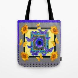 PURPLE-GREY BUTTERFLIES SUNFLOWERS MODERN ART Tote Bag