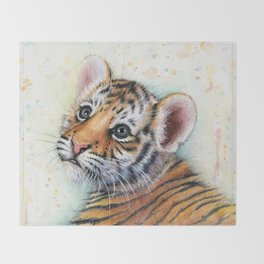 Tiger Cub Watercolor Throw Blanket