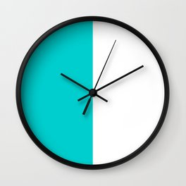 White and Cyan Vertical Halves Wall Clock