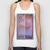 shabby chic Tank Tops featuring Lavender Fields in Window Shabby Chic original art by Glimmersmith