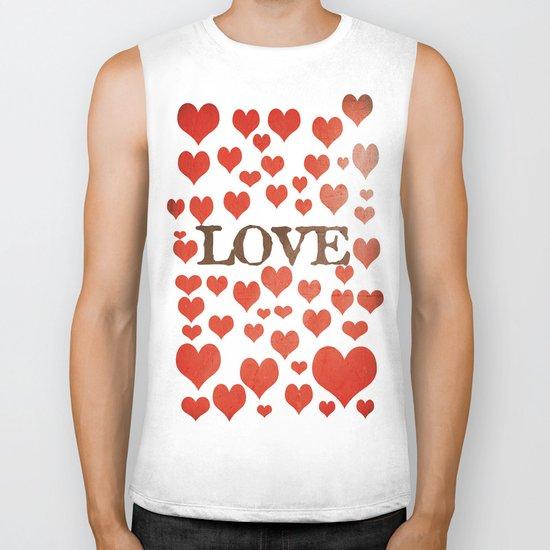 Love Heart Valentines Design  Biker Tank