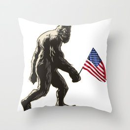 Hide and seek world champion USA Flag shirt bigfoot is real funny Tees Throw Pillow