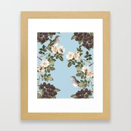 Birds and the Bees Blue Framed Art Print