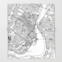 Montreal White Map Throw Blanket