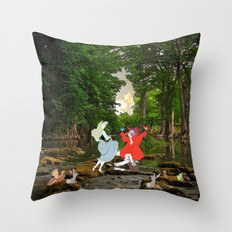 Sleeping Beauty in the Forest Throw Pillow