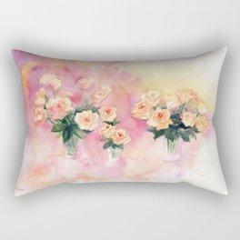 Roses Bouquet Abstract Watercolor Rectangular Pillow