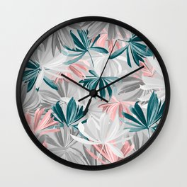Seamless Calm Pattern Floral Leaves Wall Clock
