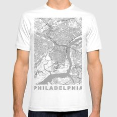 Philadelphia Map Line Mens Fitted Tee LARGE White