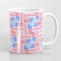 american flag Mugs featuring American Flag by Mari Orr (@meandering_mari)