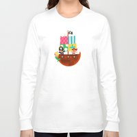 pirate ship Long Sleeve T-shirts featuring PIRATE SHIP (AQUATIC VEHICLES) by Alapapaju