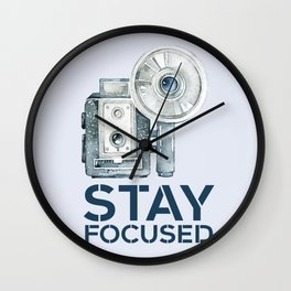 Stay Focused in Watercolor and Typography Wall Clock