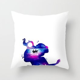 Ariel and Eric - The Little Mermaid Double Exposure Throw Pillow