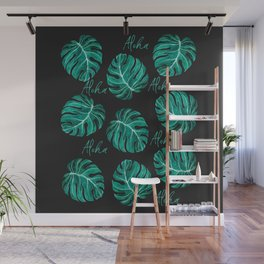 Aloha script tropical emerald green monstera leaves on dark background Wall Mural