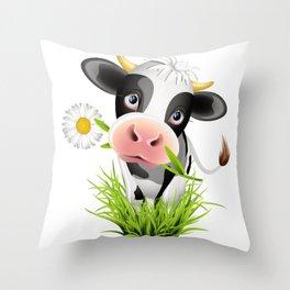 Cute Holstein cow in grass Throw Pillow