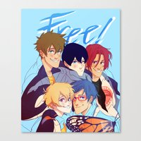 iwatobi Canvas Prints featuring 2nd season by JohannaTheMad
